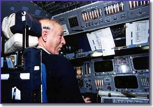 Barry in the Space Shuttle simulator
